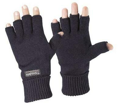 Fingerless Thermal Knitted Acrylic Glove 3M Thinsulate Black Knit Winter Work