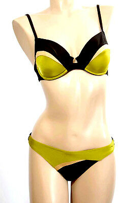 LISE CHARMEL BIKINI 2 PIECES SG: 90D + BAS: M/FR40 Marron & Vert 'Summer Couture