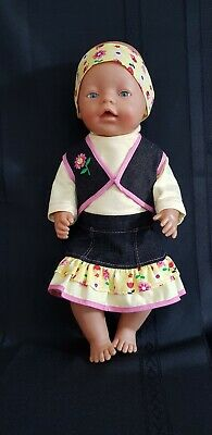 "New Dolls Clothes Denim Skirt Set To Fit Baby Born Or 17"" Doll"
