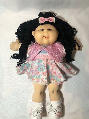 Cabbage Patch Doll Black Long Hair Original Clothes Good Condition