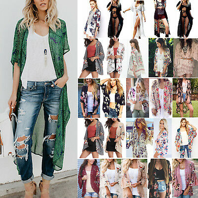 Womens Boho Beach Cover Up Lace Floral Cardigan Kimono Chiffon Coat Tops Blouse