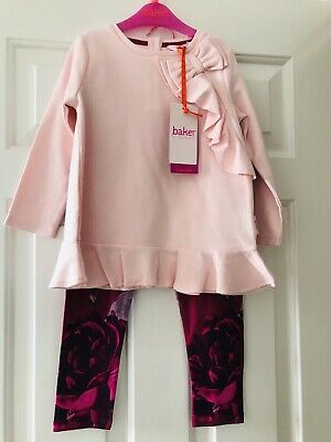 Ted Baker Juxtapose Girls Rose Print Cotton Top And Leggings Set 2-3 Years