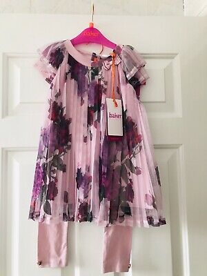 Ted Baker Juxtapose Girls Rose Print Pleated Top And Leggings Set 2-3 Years