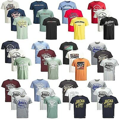 3er Pack Jack & Jones Herren T-Shirt Regular Slim Fit Rundhals Print kurzarm
