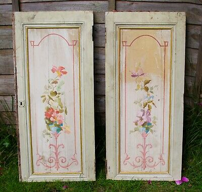 Pair of Antique French painted cupboard doors, floral, pretty, pastel shades