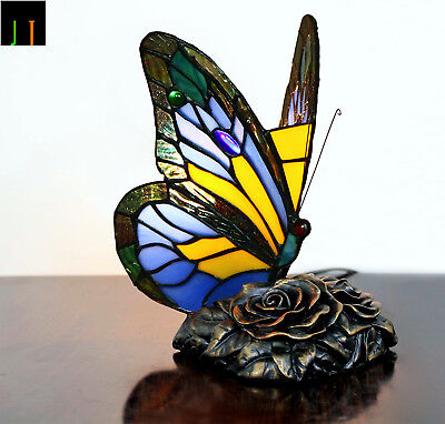EOFY Sale Tiffany Blue Butterfly Art Deco Stained Glass Table Lamp Leadlight