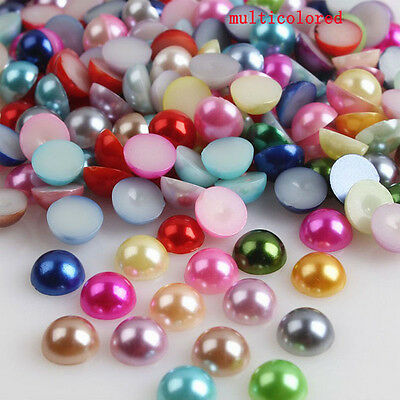 2000 pcs Half Round Bead Flat Back Acrylic Pearl Scrapbooking Embellishment  4mm