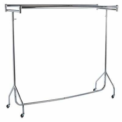 NEW HEAVY DUTY DOUBLE FULL CHROME CLOTHES,GARMENT RAILS FOR RETAIL 4ft 5ft 6ft