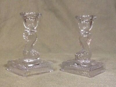 Pair Of vintage Small- Mini Clear Glass Koi Fish Candlesticks