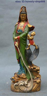14 Chinese Buddhism Bronze Drawing color Dragon Kwan-yin Boy Boddhisattva Statue