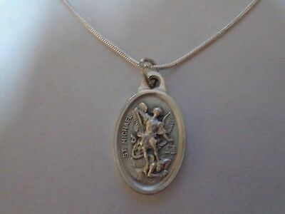 St Michael+Guardian Angel Medal ITALY 925 Sterling Silver Snake Chain Necklace