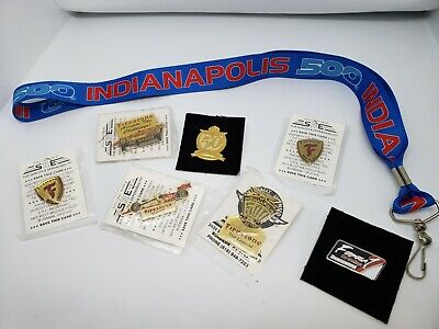 Indianapolis 500 Vintage Firestone Hat Pins Lot of 7, plus 1 lanyard. (A1)