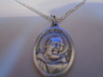 """St Padre Pio ITALY Medal on Silver curb link Chain 24"""" Necklace"""