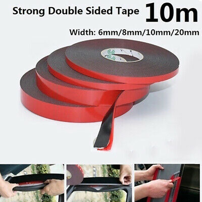 10M Black Super Strong Double Sided Foam Tape Permanent Self Adhesive T IYB