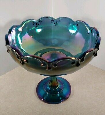 Vintage Indiana Blue Carnival Glass Kings Crown Pedestal Dish