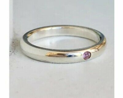 059bad525 Tiffany & Co Sterling Silver Pink Sapphire Stack Ring Sz 5.5 Elsa Peretti  Band