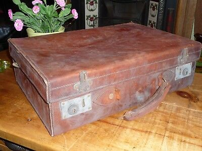 Vintage Brown Tan Leather Suitcase, Nice Condition 1950's Retro Needs Work Dusty