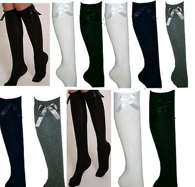 Girls Knee High School Socks With Bows Long Cotton Rich School &Party Socks