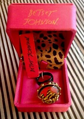 NWT/BOX Betsey Johnson Vintage Miami Chic Collection Lucite Ring-Signed