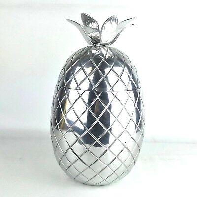 Pineapple Shaped Ice Bucket CB2 Carmen Crate and Barrel Aluminum Container Jar