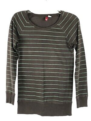 50c7fbcb45d DIVIDED by H&M Women's Long sleeve Striped Ribbed Top sz 10 brown/turquoise  P2