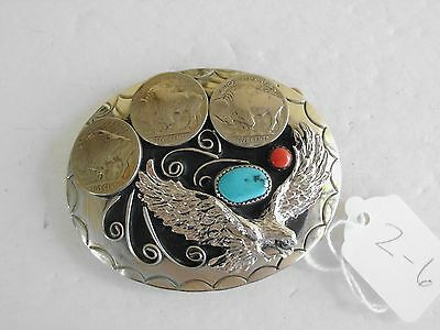 Belt Buckle Eagle 1-Turquoise 1-Coral 3 Buffalo Nickles Southwest Z-6 Mpw