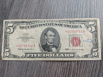 1963 $5 Dollar Bill  Us Paper Money Currency Red Seal Collector Note