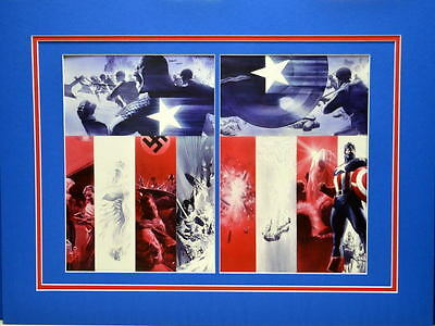 CAPTAIN AMERICA COLLAGE PRINT PROFESSIONALLY MATTED Marvel Alex Ross art