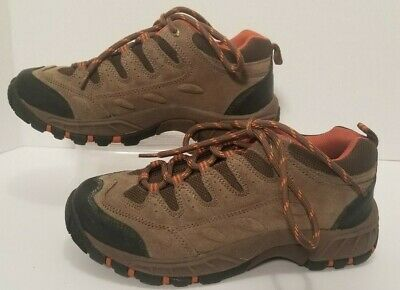 Everest Mens Hiking Trail Athletic Casual Shoes Brown Leather Upper Size 7