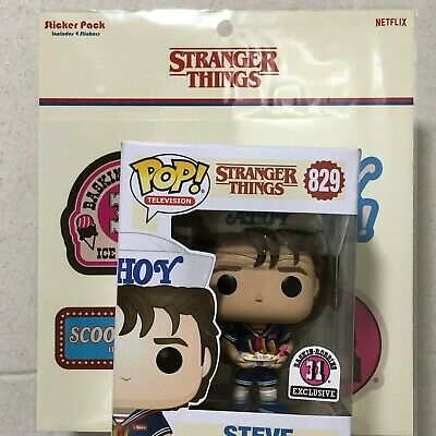 Funko Pop #829 Stranger Things Steve With Stickers Pack Baskin Robins Exclusive