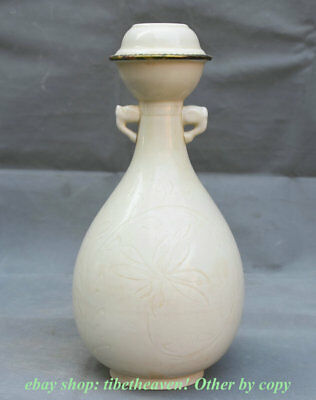 "12"" Collect Marked Old Chinese Ding Kiln Porcelain Palace Flower 2 Ear Bottle"