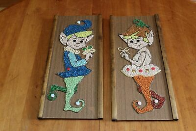 MCM 1960s Pebble Gravel Art Pair of Pixies Elves Wall Hanging Plaques Vintage