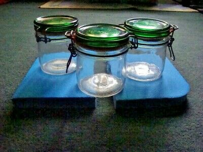 3 Vintage 1960's HERMETIC PRESERVING JARS With WIRE BAIL SEAL LID--Like New !