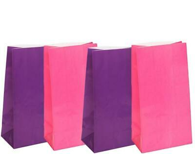 6 Bright Pink & Purple Paper Party Bags-Kids Party Supplies-Favours Bags