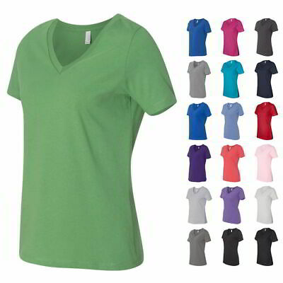 5c39fc335 Bella + Canvas Relaxed Short Sleeve Jersey V-Neck Relaxed Fit Womens T Shirt  .