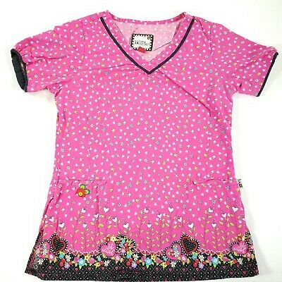 f0be9fecb29 Mary Engelbreit Scrub Top Shirt Nursing Affectionately Yours Womens Size XS
