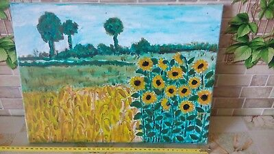 Original Oil Painting Ukrainian culture Field with sunflowers and corn 16х12 in