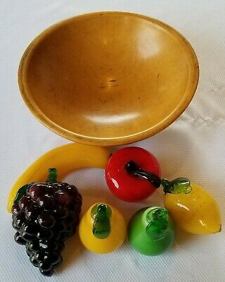 Lot Vintage Glass FRUIT Hand Blown MURANO Plus Antique Wood Fruit Bowl Italy
