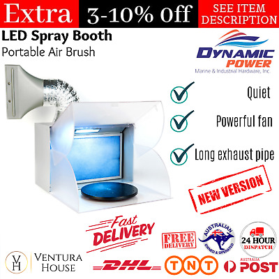 New Portable Airbrush LED Spray Booth Kit with Exhaust Extractor Light Turntable