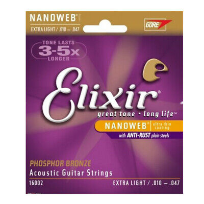 Elixir 16002 Phosphor Bronze Extra Light Acoustic Guitar Strings 10 - 47