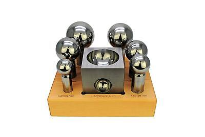 """Dapping Set- 6 Small Punches And 3"""" Steel Dapping Block"""