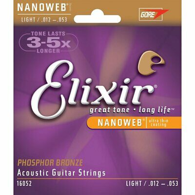1set Elixir 16052 Nanoweb Acoustic Guitar Strings Light 12-53 Phosphor Bronze