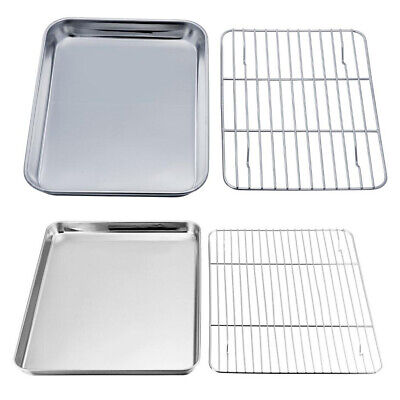 Stainless Steel Baking Tray Oven Pan with Cooling Rack Easy Clean Oven Tray Rack
