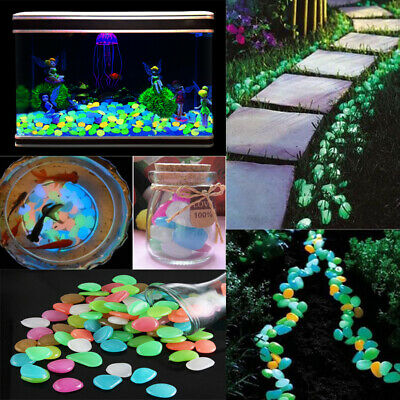 100X Garden Pebbles Luminous Stones Glow in the Dark Walkway Path Lawn Yard Farm