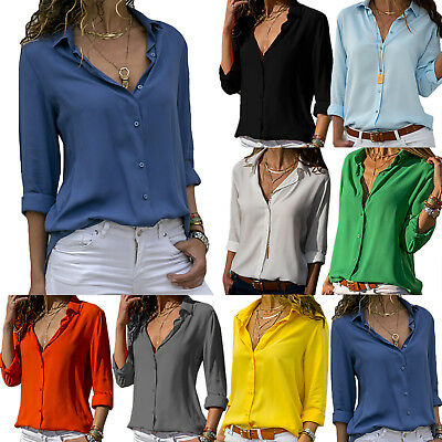 Womens Long Sleeve Casual OL Work Shirts Ladies V-neck Chiffon Tops Blouse 8-18