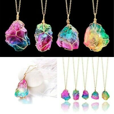 Rainbow Stone Natural Crystal Chakra Rock Chain Quartz Pendant Necklace Gift Hot