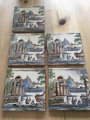 Antique 1890s Tile Wordsworth Abbey Ruin & Pastoral Scene £60 For All 5 !