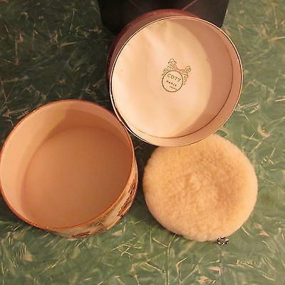 Vtg Coty French Dusting Powder Cardboard Box Paris Perfumed France USA Puff