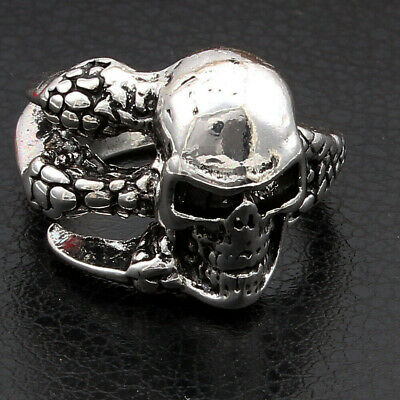 Men's Gothic Punk Stainless Steel Dragon Claw Skull Head Silver Ring Jewelry