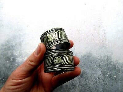 Pair of Antique Silver Plated Napkin Rings Engraved